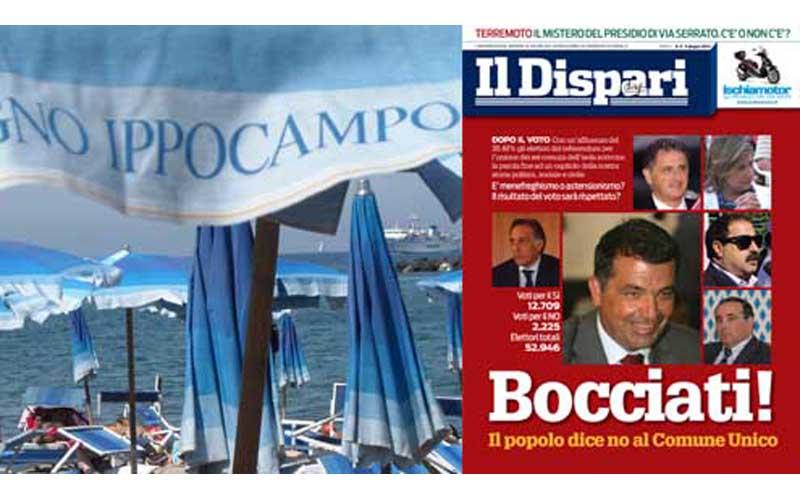 La copertina del settimanale e in fondo il mare di Ischia
