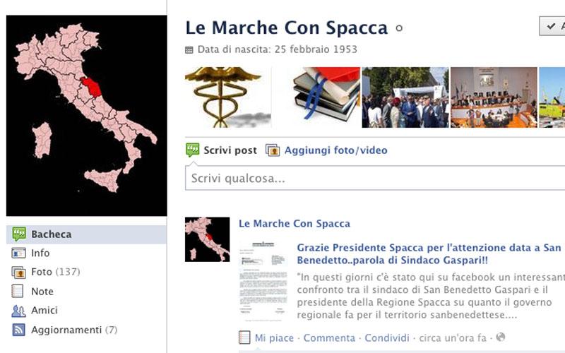 La bacheca del gruppo Le Marche con Spacca e il messaggio indirizzato a Gaspari e Sorge
