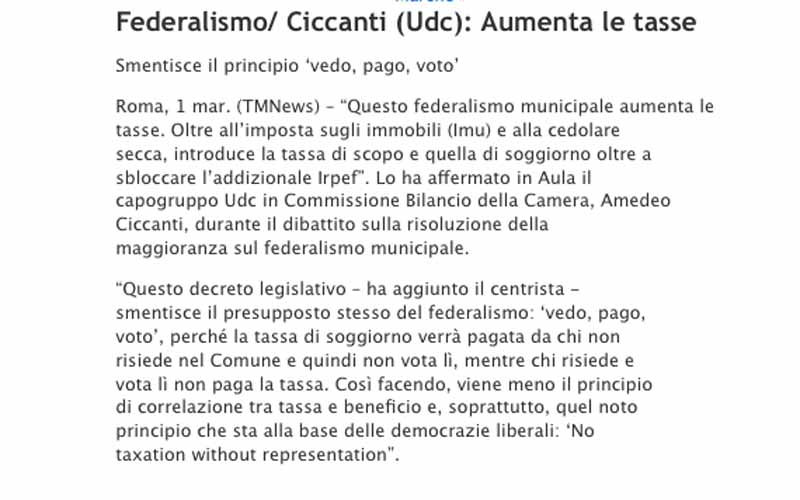 La pagina del sito di Ciccanti relativa al 1° marzo 2011, quando il deputato si scagliò contro la Tassa di Soggiorno in Parlamento. Ma non secondo lui...