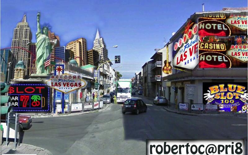 Porto d'Ascoli come Las Vegas con slot machine e casinò nella fantasia satirica di Roberto Capriotti