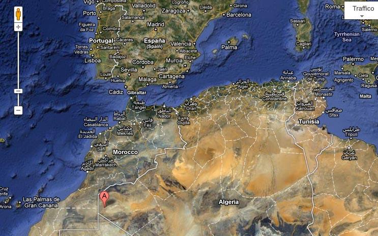 Tindouf, il fortino dove è avvenuto il sequestro di Rossella Urru, segnalato sulla mappa con una A