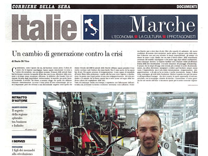 La prima pagina dell'inserto sul Corriere della Sera