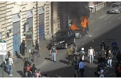 I disordini a Roma (foto Repubblica)