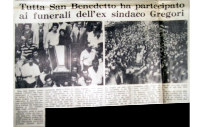 Il funerale di Pino Gregori. Giornale dell'epoca (dalla pagina Wikipedia dedicata a Gregori)