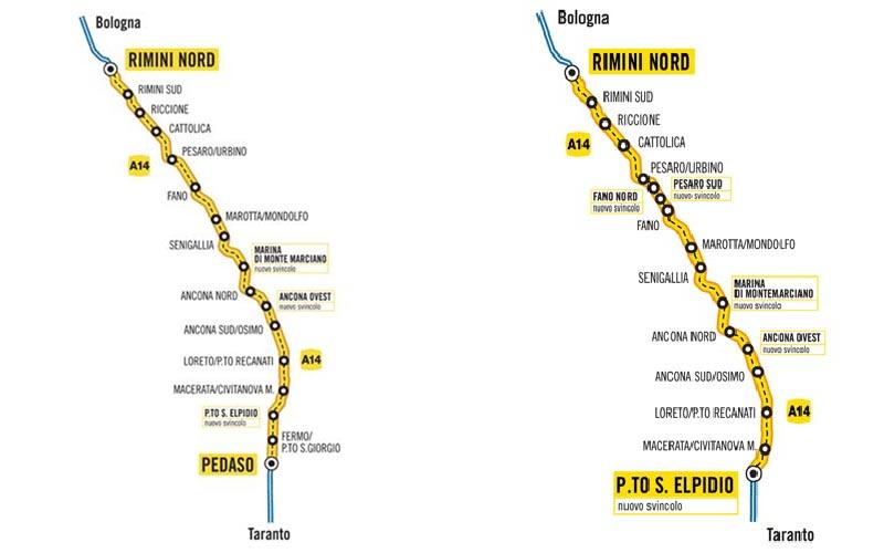Il progetto iniziale per la terza corsia A14, fino a Pedaso, e quello poi realizzato, fino a Porto Sant'Elpidio