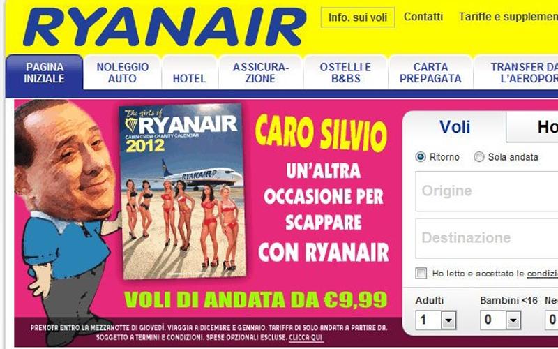 Ryanair a Silvio Berlusconi, vola via con noi