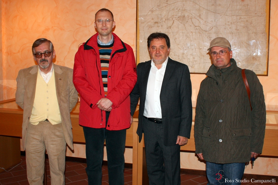 Il direttore dell'Accademia Ungherese con Romano Speca, Fernando Ciarrocchi e Umberto Zamponi