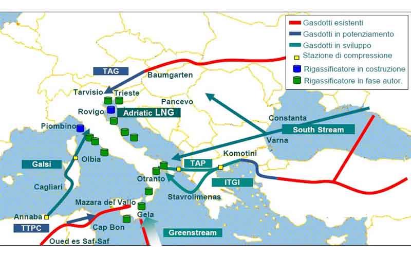 Italia Hub europeo del gas. Tanti i metanodotti in costruzione e i rigassificatore costruiti di recente e in costruzione