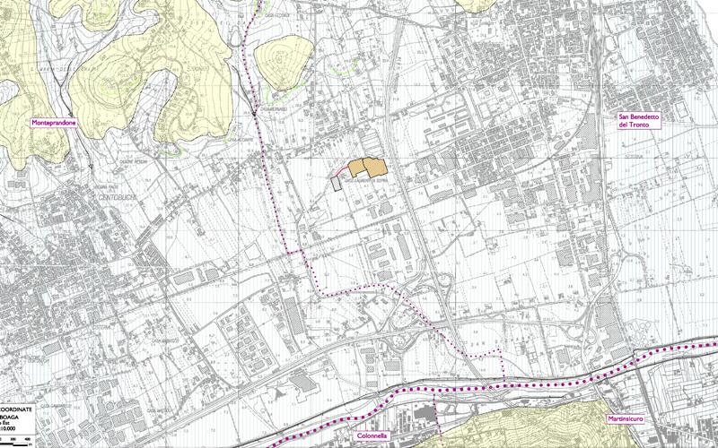 La centrale Gas Plus e i vicini confini comunali di Monteprandone, Martinsicuro, Colonnella