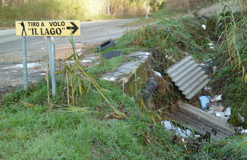 Lastre di amianto in un fosso