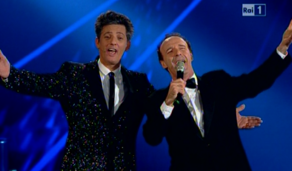 Benigni e Fiorello (foto da Tvblog.it)