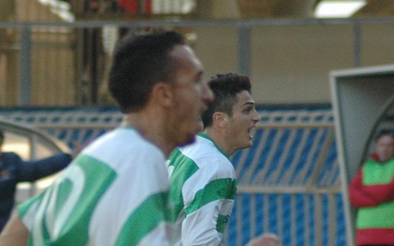 Carpani ha appena segnato ed esulta insieme a Puglia, autore dell'assist ph. Giammusso