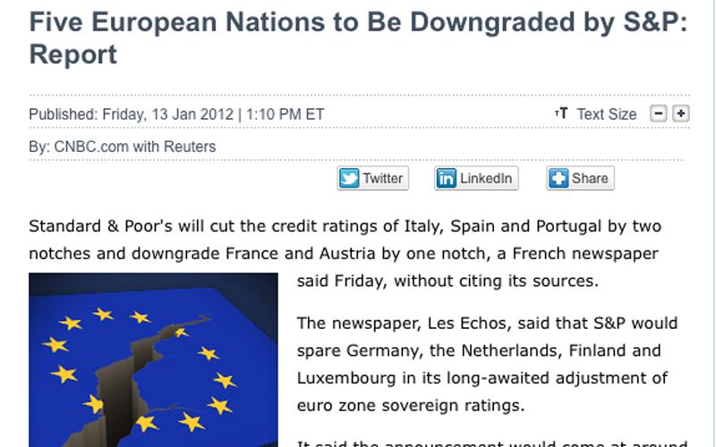 Cnbc annuncia il taglio di Standard & Poor's nei confronti di cinque paesi europei ma anche dell'Italia