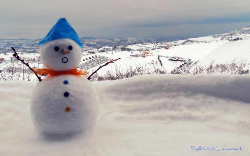 Bellissimo pupazzo di neve a Colonnella con sfondo della Vallata del Tronto, di Teresa Di Lorenzo, 4 febbraio 2012