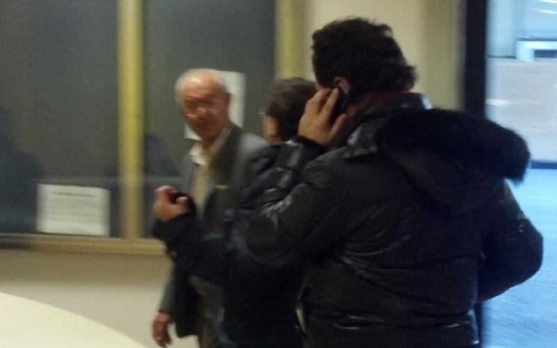 Farnush Davarnapah e, dietro di lui, il presidente della Samb Roberto Pignotti che chiede spiegazioni e il dg Giulio Spadoni