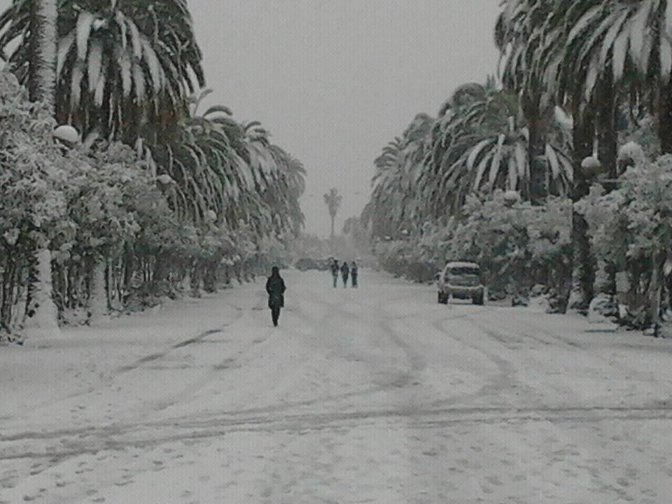 Neve sulla rotonda Giorgini di San Benedetto, 3 febbraio 2012