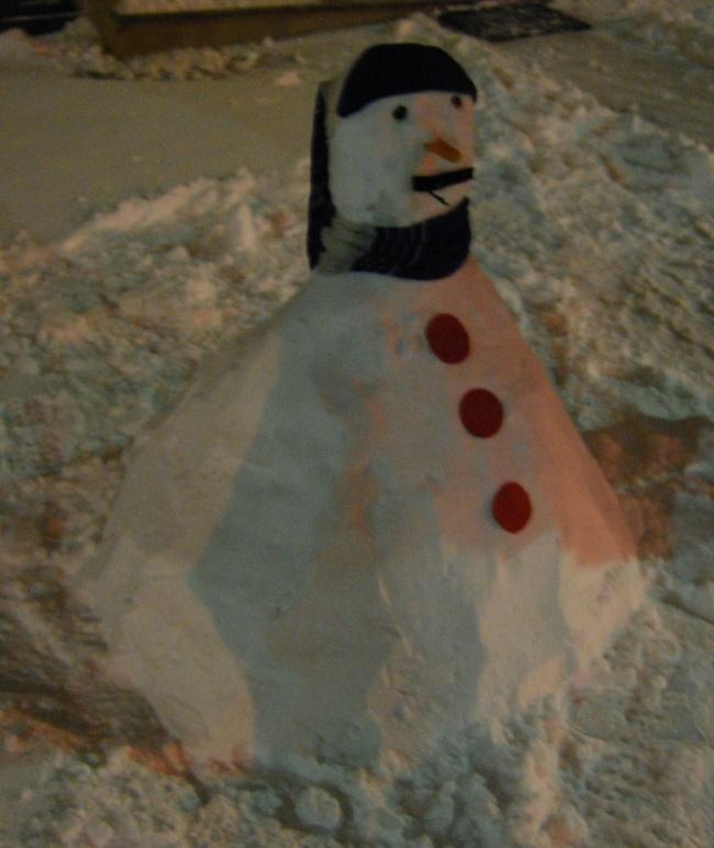 Acquaviva Picena, pupazzo di neve, 5 febbraio (Erika Corradetti)