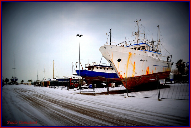Neve al porto, 7 febbraio 2012 foto Paolo Camaioni 2