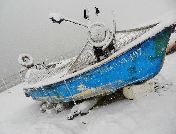 Neve sulla spiaggia di Porto d'Ascoli, foto di Ilaria Verturani