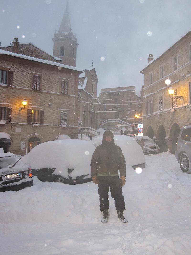 Piazze Ascanio Condivi e Matteotti, Ripatransone, neve 4 febbraio, Roberto Pasquali