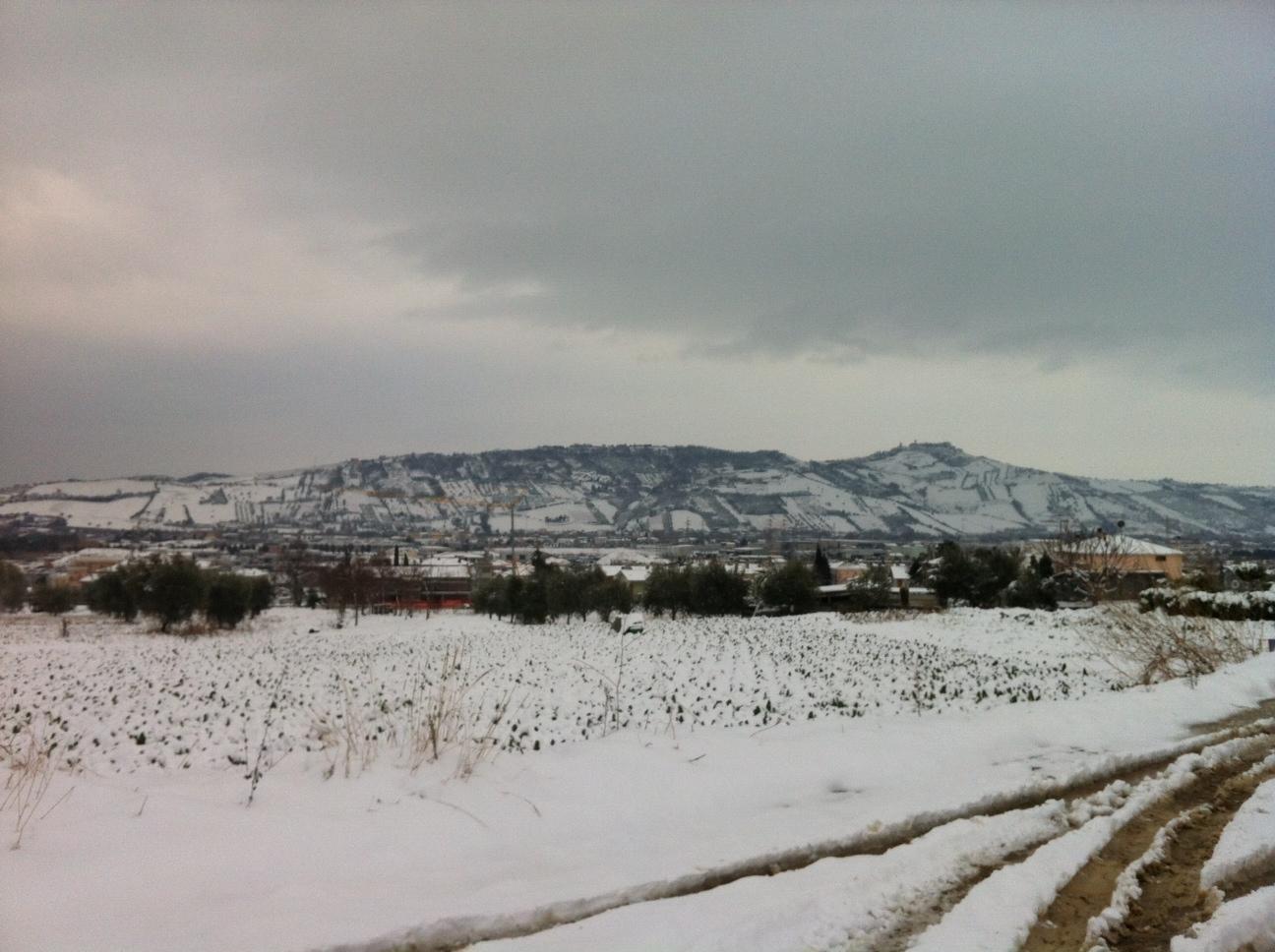 Piero Spina, foto della Vallata del Tronto, neve del 4 febbraio 2012
