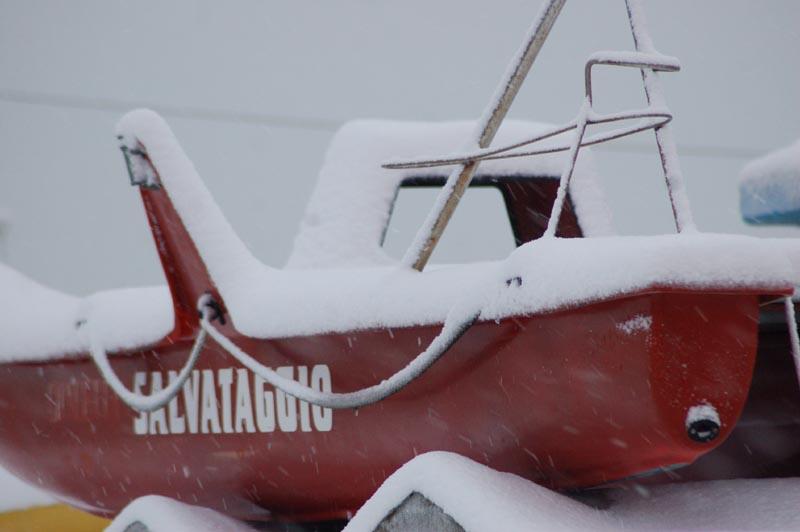 Roberto Bartolomei, neve su San Benedetto 3 febbraio pattino di salvataggio