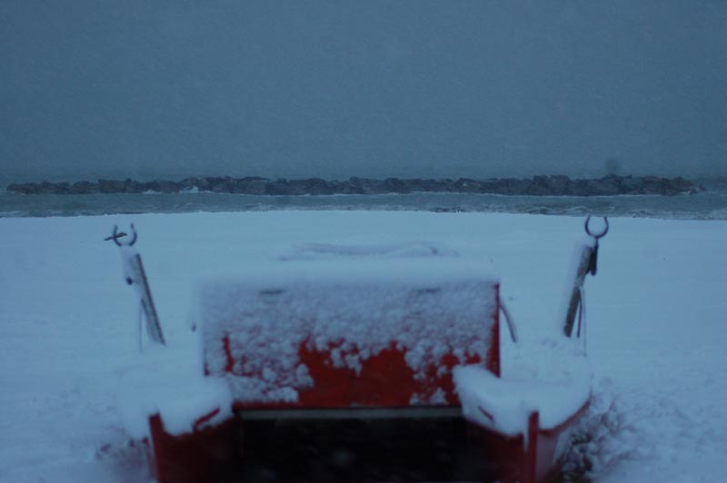 Roberto Bartolomei, neve su San Benedetto 3 febbraio pattino solitario da vicino