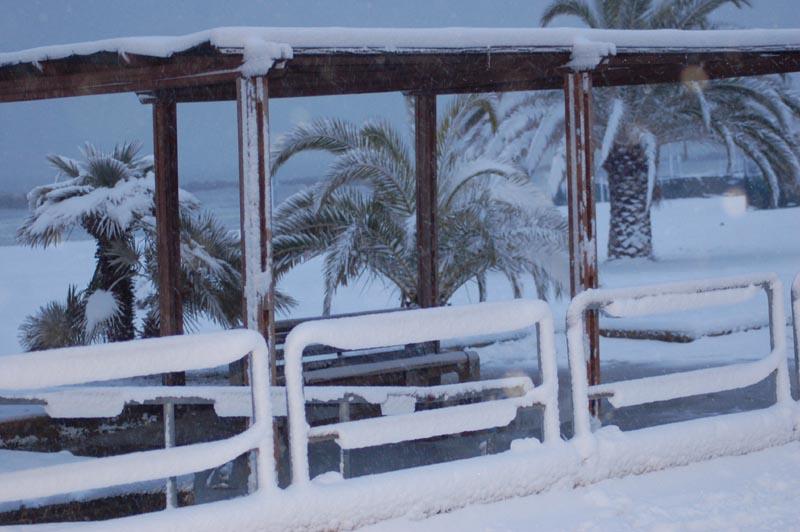 Roberto Bartolomei, neve su San Benedetto 3 febbraio spiaggia libera