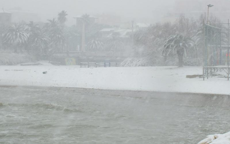San Benedetto, foce dell'Albula, neve 3 febbraio 2012, foto Dante Consorti
