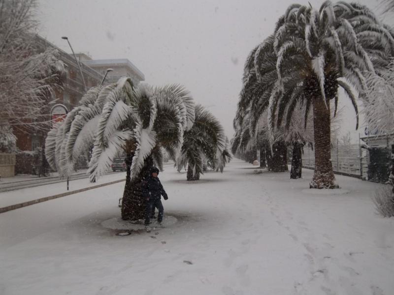 Neve a San Benedetto, lungomare, 5 febbraio (Francesco Spinozzi)