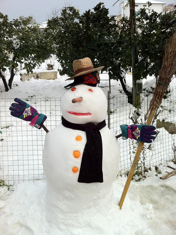 5 febbraio, foto pupazzo neve da Ivan sbt