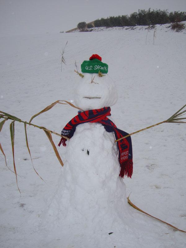 Il pupazzo di neve di Marco, lettore di Centobuchi, che commenta la foto con il grido
