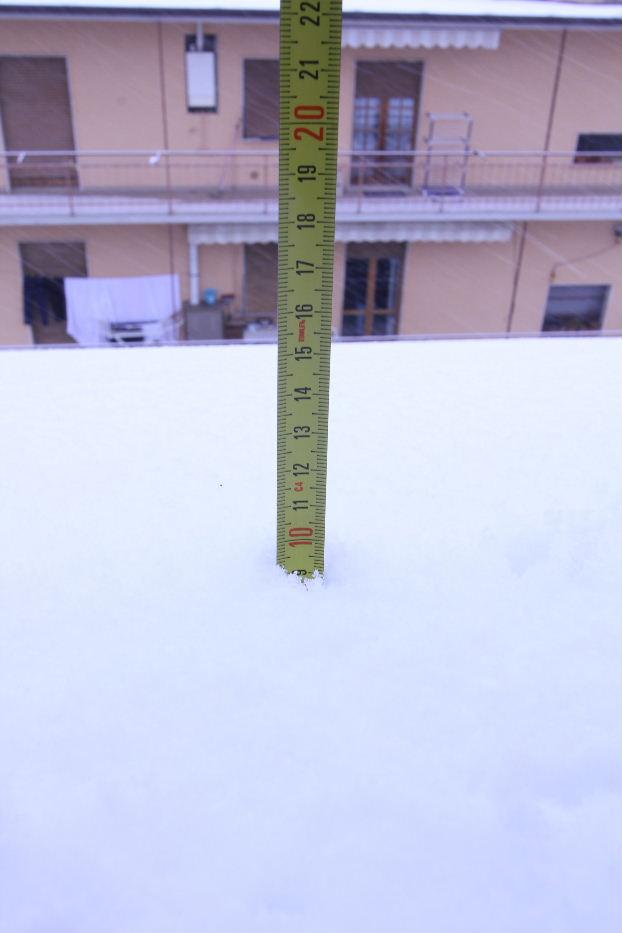 La neve sui tetti a Centobuchi il 4 febbraio, di Antonio L.