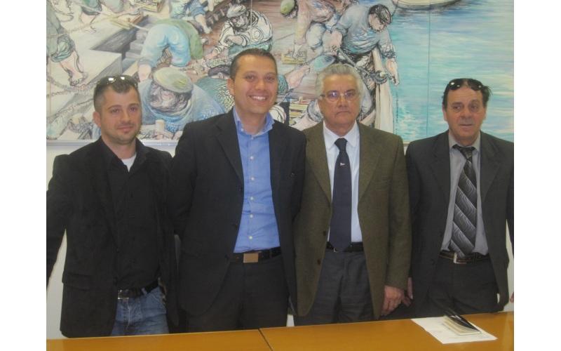 Presentazione corso di pesca sportiva. Da sinistra Zefferino Guidi, Marco Curzi, Mario Conti, Vittorio Bruni