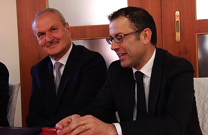 Remo Bruni e Paolo D'Erasmo durante la presentazione del nuovo candidato sindaco