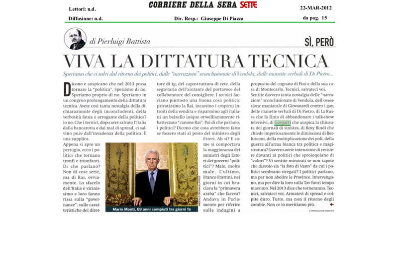 Viva la dittatura tecnica, articolo di Pierluigi Battista su Sette del 22 marzo