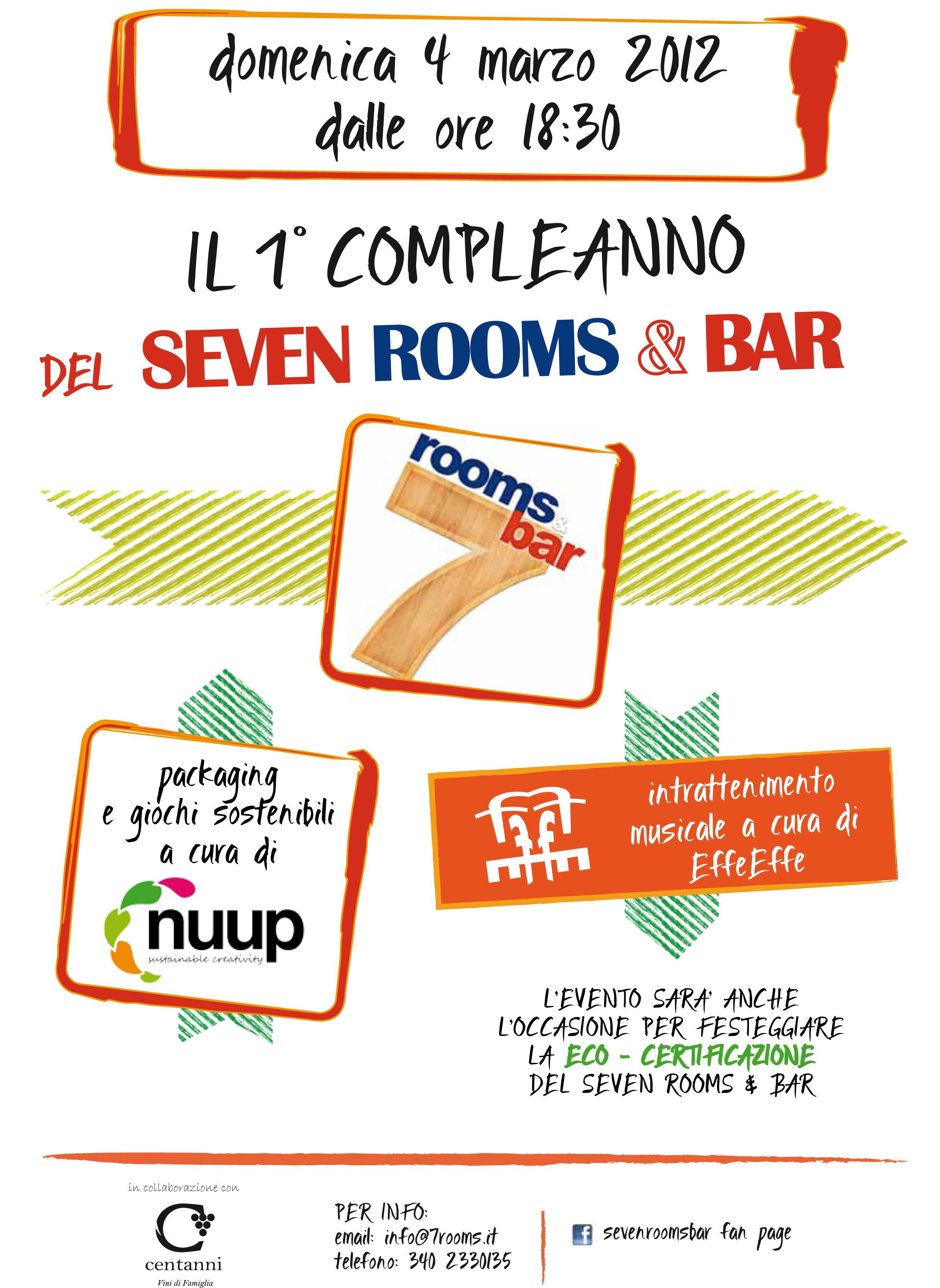 La locandina per il compleanno del 7 Rooms & Bar