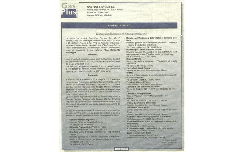 Gas Plus, annuncio sul Corriere della Sera del 5 aprile