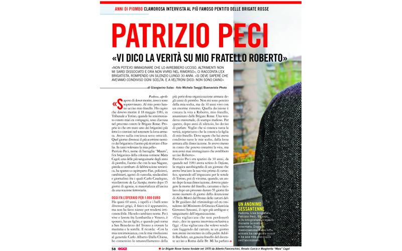 La prima pagina dell'intervista di Oggi a Patrizio Peci