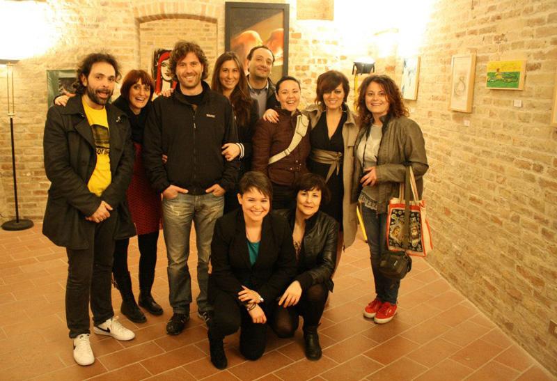 Membri dell'associazione Villaggio Planetario all'inaugurazione della mostra