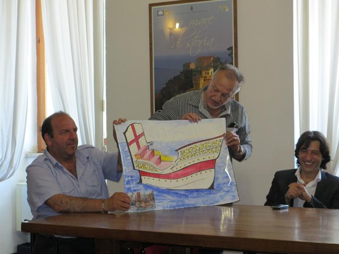 Il disegno della barca utilizzata per lo sbarco del Papa
