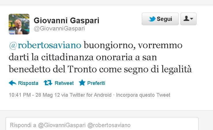 Il messaggio di Gaspari a Saviano