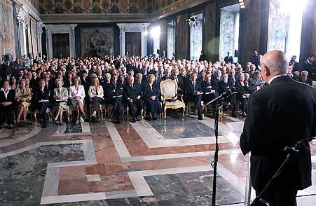 Napolitano al Quirinale, durante un discorso effettuato il 9 maggio 2011