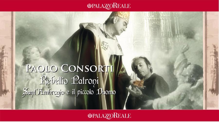 Luca Mangoni nei panni di Sant'Ambrogio e l'artista Paolo Consorti