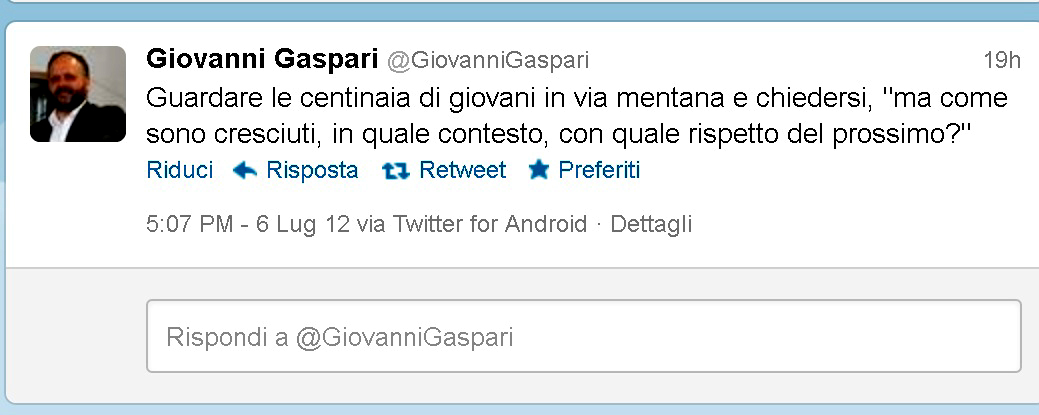 Il tweet di Gaspari