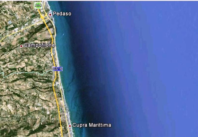 Cupra, Marina di Massignano, Campofilone, Pedaso  vista satellitare fonte google
