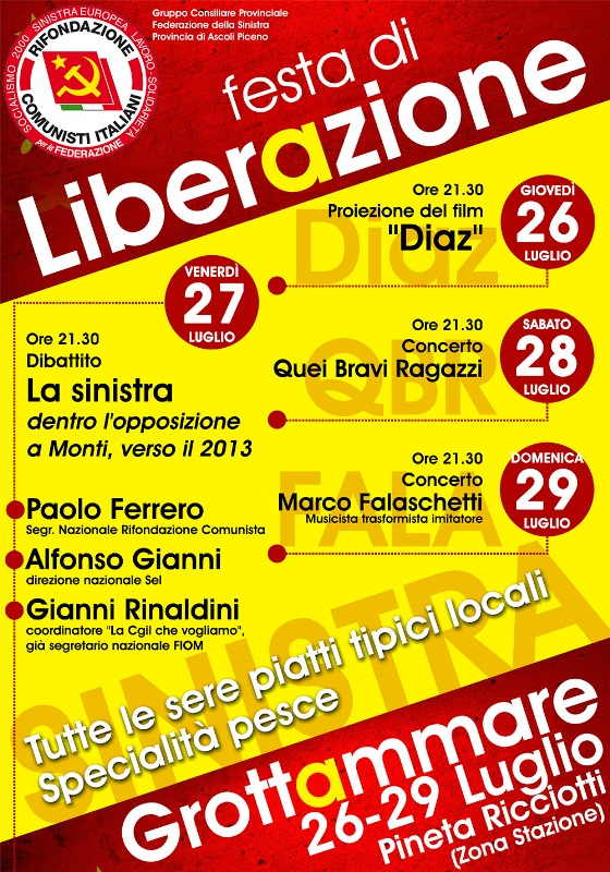 "Locandina ""Festa di Liberazione"" a Grottammare 2012"
