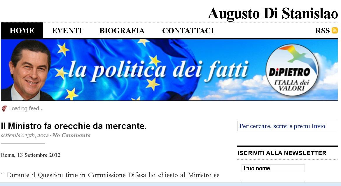Home page del sito di Augusto Di Stanislao