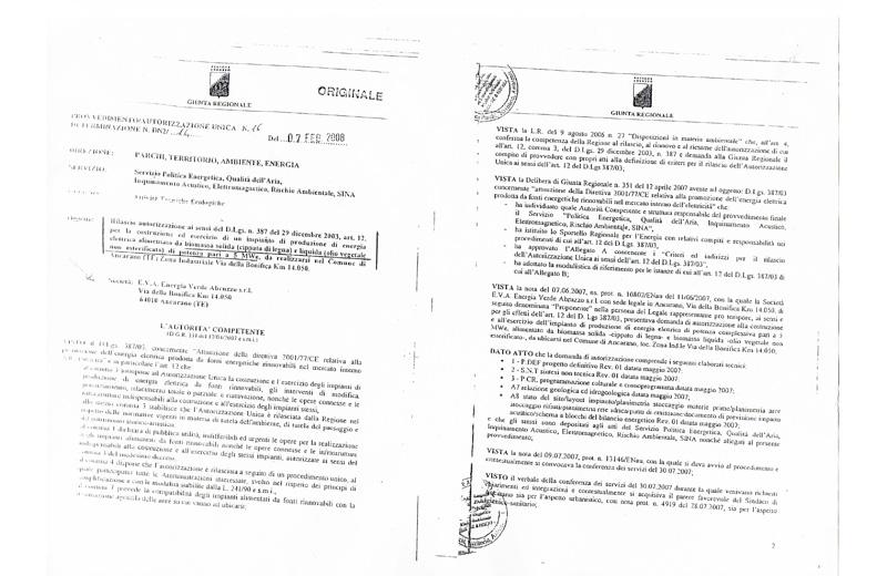 L'autorizzazione unica della regione Abruzzo per la centrale a biomasse di Ancarano, rilasciata il 7 febbraio 2008