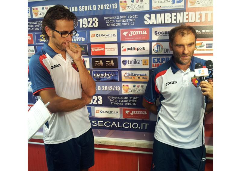 Voltattorni con l'addetto stampa Stefano Bruni durante le interviste post gara